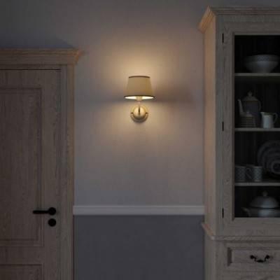 Lámpara de pared Cottage de cerámica con pantalla de tela y tubo de extensión