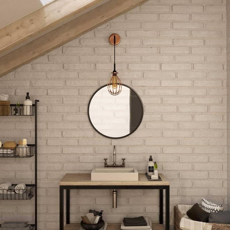 Lámpara de pared Metal Industrial de metal con cable y jaula Drop
