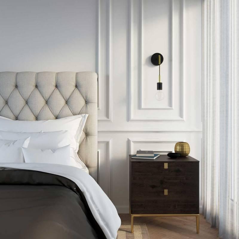 Lámpara de pared Luxury Leather en madera forrada en piel