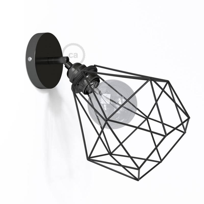 Lampara de pared o techo de metal orientable 90º con pantalla Diamond