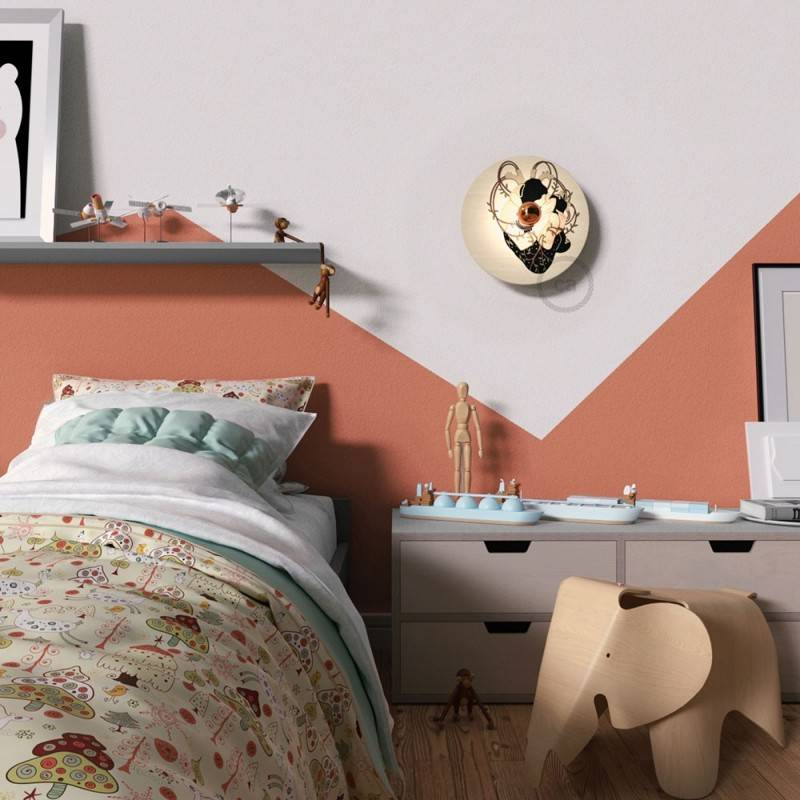 Lámpara de pared Romantic con pantalla UFO ilustrada doble cara, diseño por varios artistas