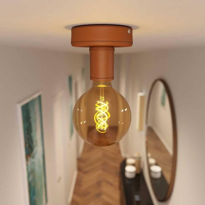 Fermaluce de piel, lámpara de pared o techo de madera forrada en piel. Fabricado en Italia