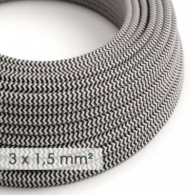 Cable electrico de sección grande 3x1,50 redondo - Tejido Efecto Seda Negro ZigZag RZ04