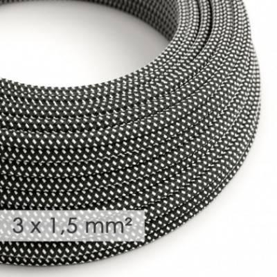Cable electrico de sección grande 3x1,50 redondo - Tejido Efecto Seda Negro Blanco 3D RT41