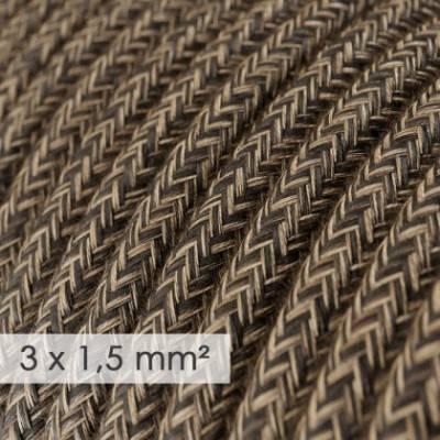 Cable electrico de sección grande 3x1,50 redondo - Lino Natural Marrón RN04