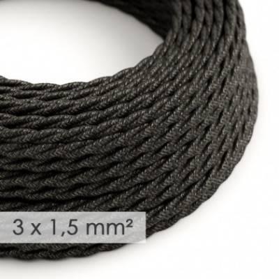 Cable electrico de sección grande 3x1,50 trenzado - Lino Natural Antracita TN03
