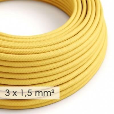 Cable electrico de sección grande 3x1,50 redondo - Tejido Efecto Seda Amarillo RM10