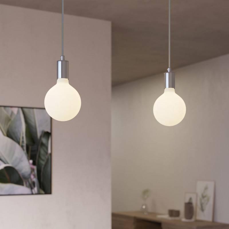 Lámpara colgante de 2 caídas con Rose-One XXL rectangular de 675 mm con cable textil y acabado metálico