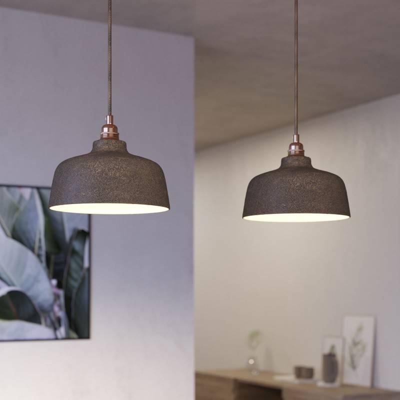 Lámpara colgante de 2 caídas con Rose-One XXL rectangular de 675 mm con cable textil y pantalla Coppa