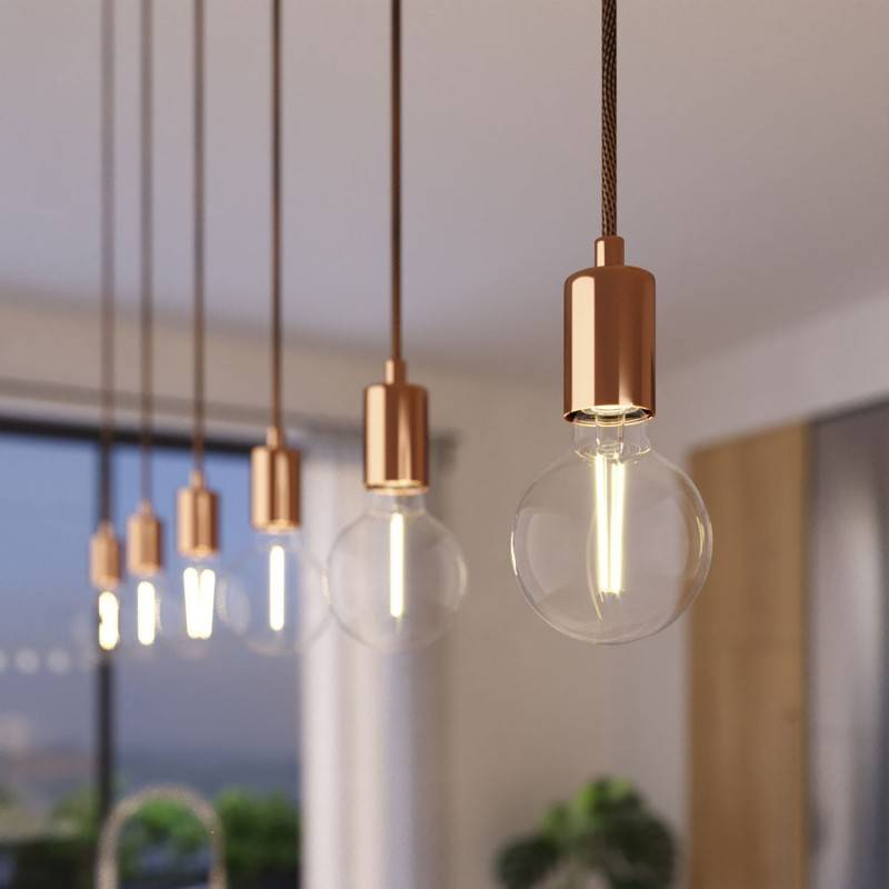 Lámpara colgante de 3 caídas con Rose-One XXL rectangular de 675 mm con cable textil y acabado metálico