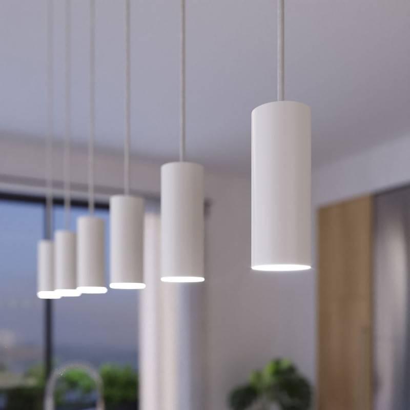 Lámpara colgante de 3 caídas con Rose-One XXL rectangular de 675 mm con cable textil y pantalla metálica Tub E14