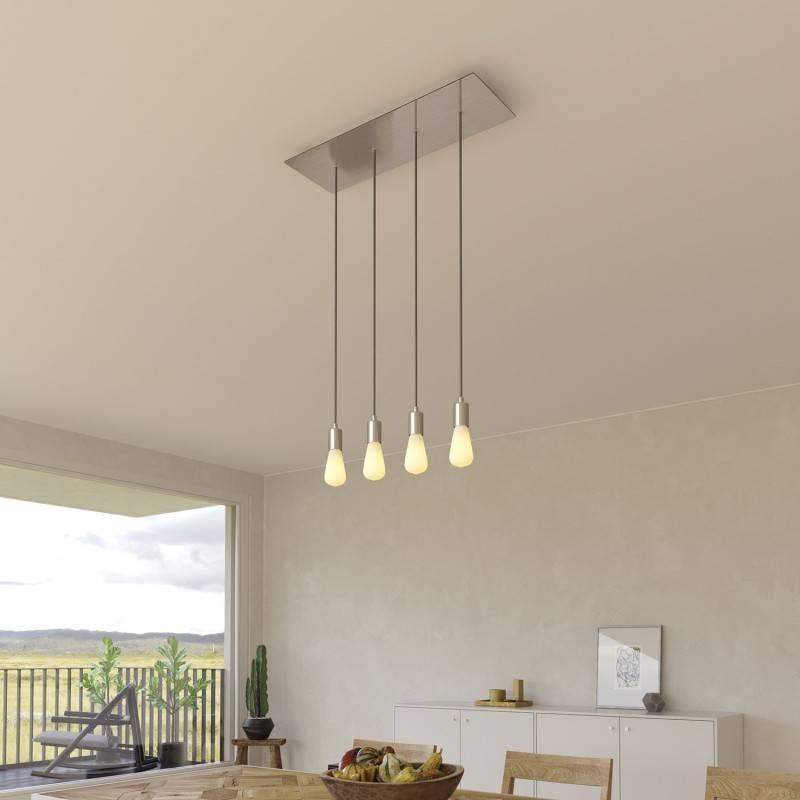 Lámpara colgante a 4 caídas con Rose-One XXL rectangular 675 mm con cable textil y acabado metálico