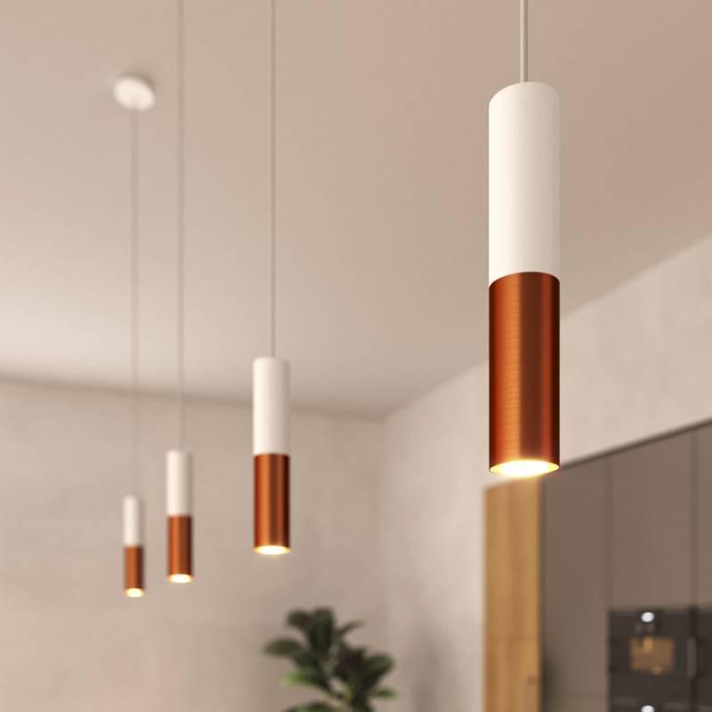 Lámpara de suspensión Made in Italy completa con cable textil y pantalla doble Tub-E14