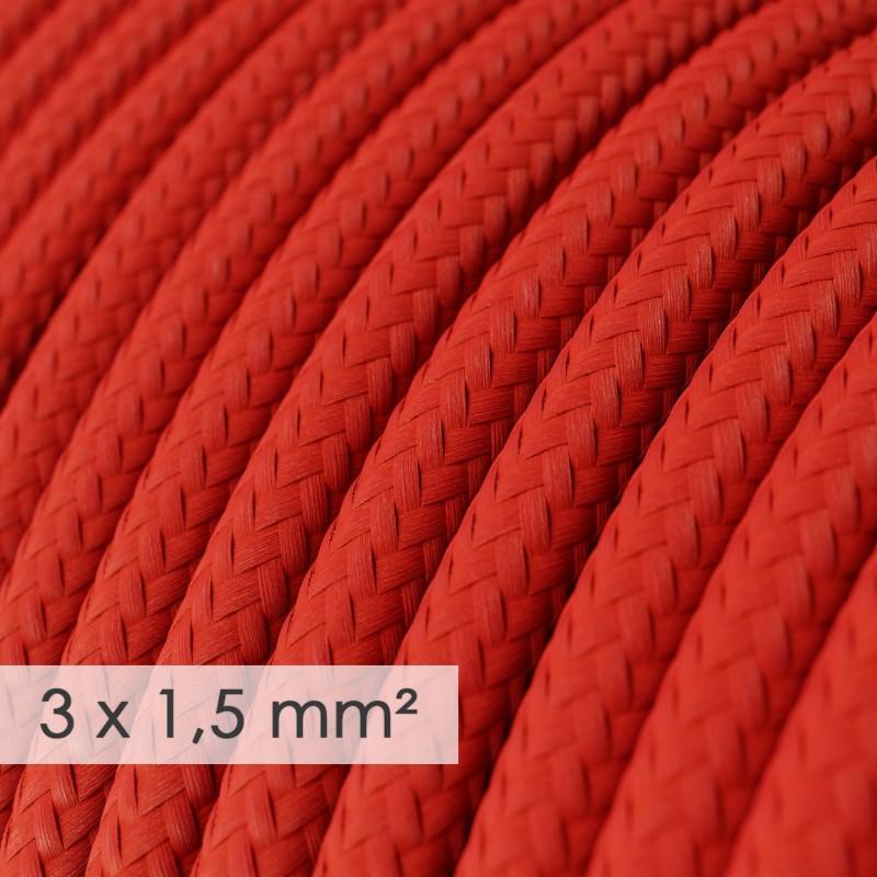 Multienchufe con cable en tejido colorado efecto seda Rojo RM09 y clavija Schuko con anillo comfort