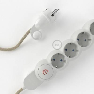 Multienchufe con cable en Lino Natural Neutro RN01 y clavija Schuko con anillo comfort