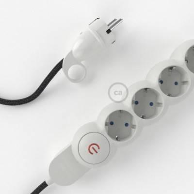 Multienchufe con cable en Lino Natural Antracita RN03 y clavija Schuko con anillo comfort