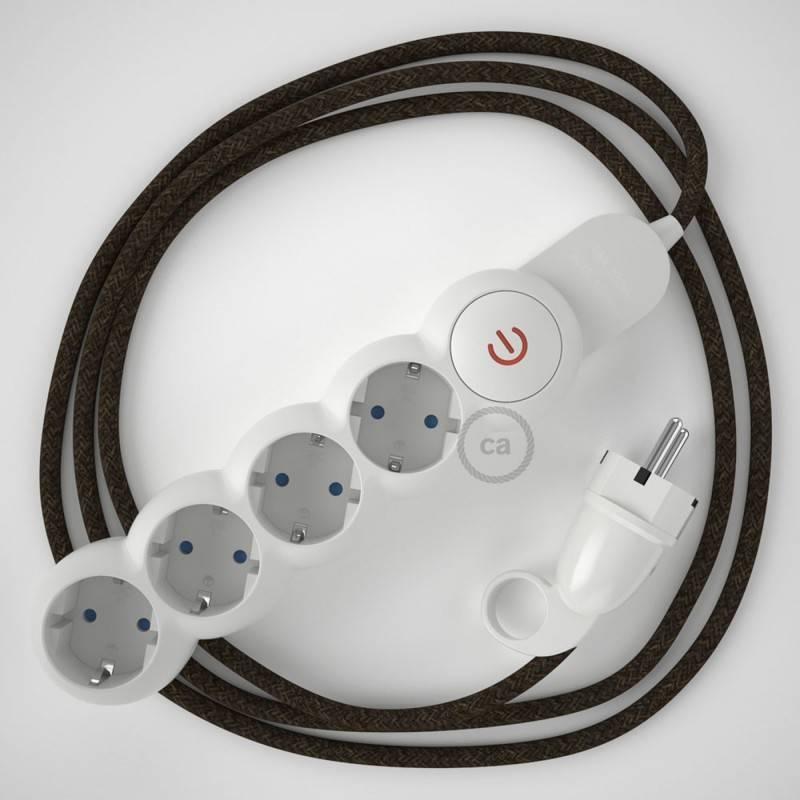 Multienchufe con cable en Lino Natural Marrón RN04 y clavija Schuko con anillo comfort