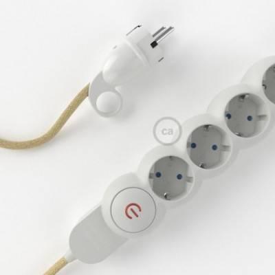 Multienchufe con cable en Jute RN06 y clavija Schuko con anillo comfort
