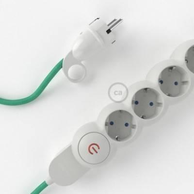 Multienchufe con cable en tejido efecto seda Ópalo RH69 y clavija Schuko con anillo comfort
