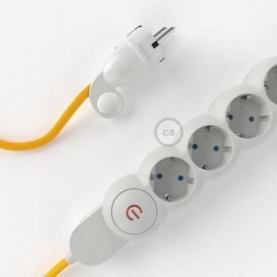 Multienchufe con cable en tejido efecto seda Amarillo RM10 y clavija Schuko con anillo comfort