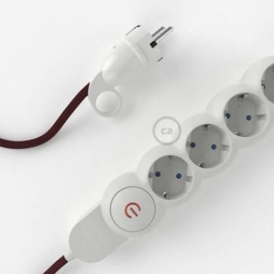 Multienchufe con cable en tejido efecto seda Burdeos RM19 y clavija Schuko con anillo comfort