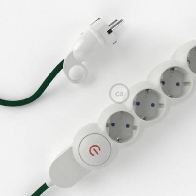 Multienchufe con cable en tejido efecto seda Verde Oscuro RM21 y clavija Schuko con anillo comfort