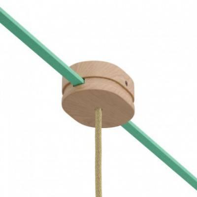Rosetón ovalado de madera con un agujero central y 2 agujeros laterales por cable para guirnalda y sistema Filé. Hecho en Italia
