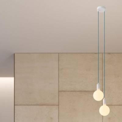 Lámpara colgante múltiple de 2 caídas completa con cable textil y acabados metálicos
