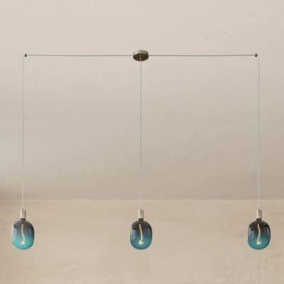 Spider - Lámpara colgante múltiple de 3 caídas Made in Italy completa con cable textil y acabados metálicos
