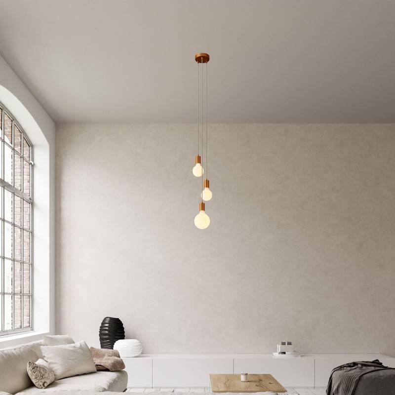 Lámpara colgante múltiple de 3 caídas completa con cable textil y acabados metálicos