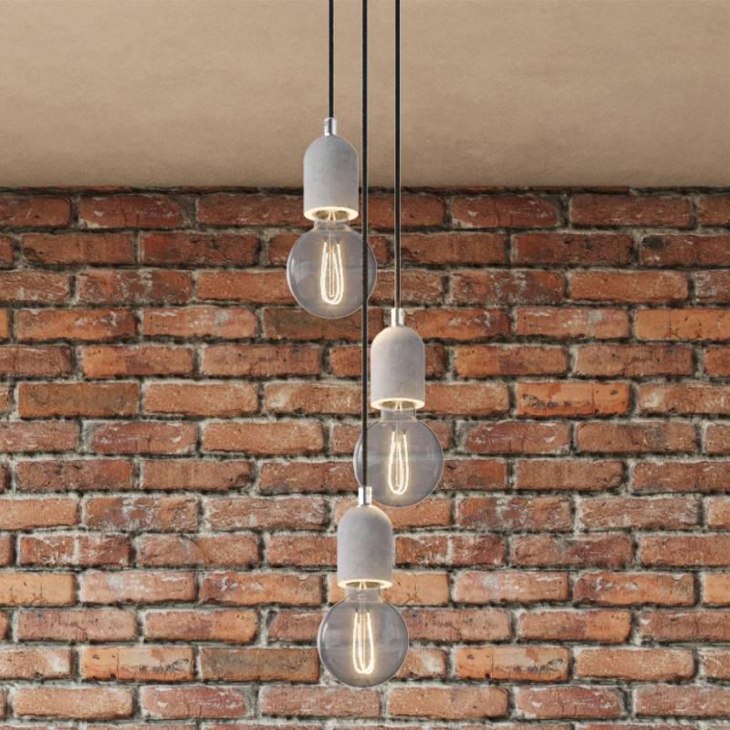 Lámpara colgante de 3 caídas con Rose-One redondo de 200 mm completa con cable textil y acabados en hormigón
