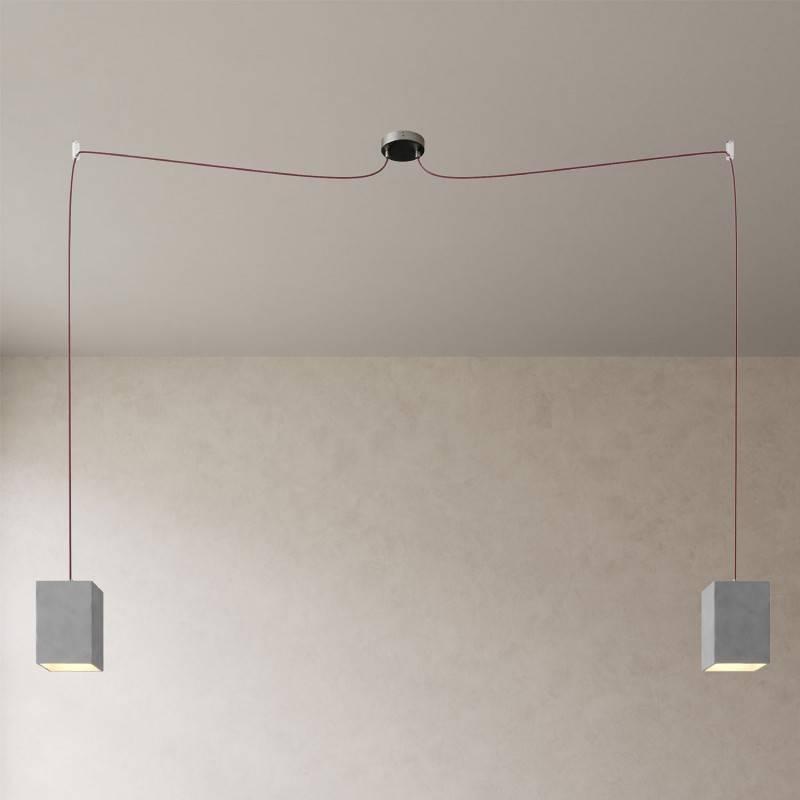 Spider - Lámpara colgante múltiple Made in Italy de 2 caídas con cable textil y pantalla de hormigón
