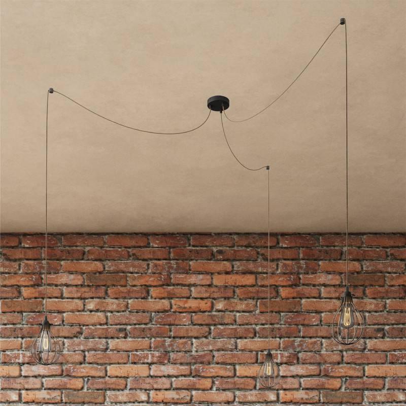 Spider - Lámpara colgante múltiple de 3 caídas Made in Italy completa con cable textil y pantalla Drop