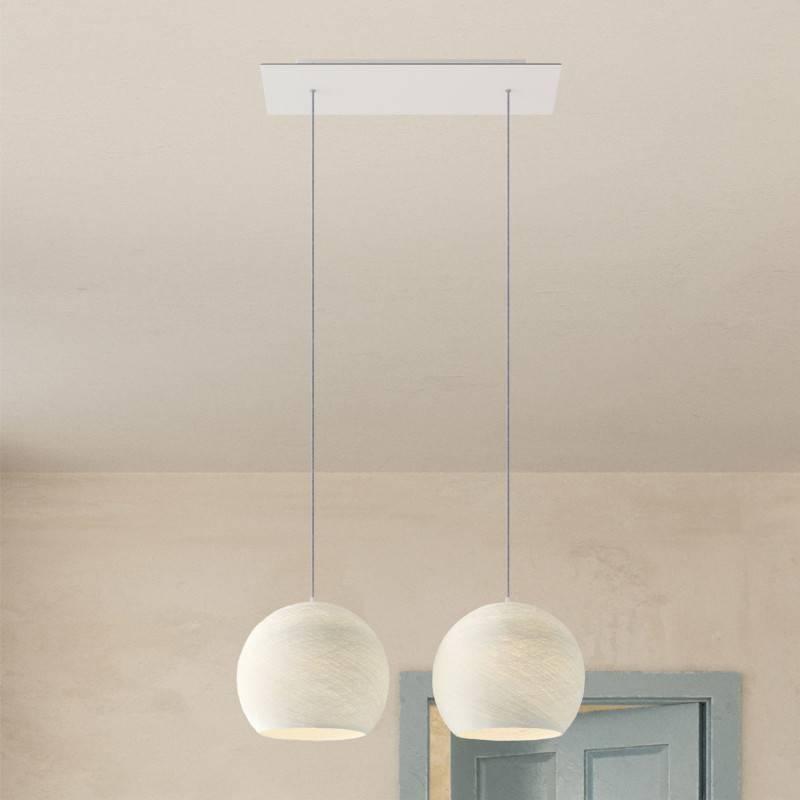 Lámpara colgante de 2 caídas con Rose-One rectangular XXL 675 mm completa con cable textil y pantalla Dome M