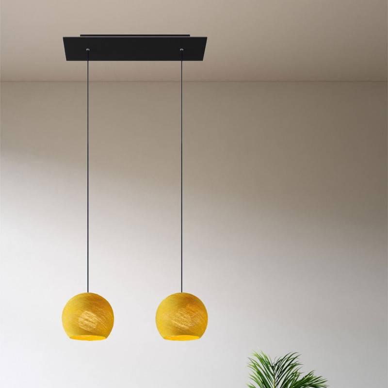 Lámpara colgante 2 caídas con Rose-One rectangular XXL 675 mm completa con cable textil y pantalla Dome XS