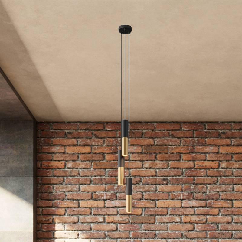 Lámpara colgante múltiple de 3 caídas con cable textil y pantalla metálica Doble Tub-E14