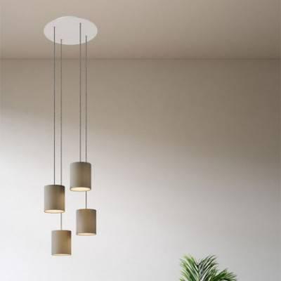 Lámpara colgante de 4 caídas con XXL Round Rose-One 400 mm completo con cable textil y pantalla en tejido Cilindro