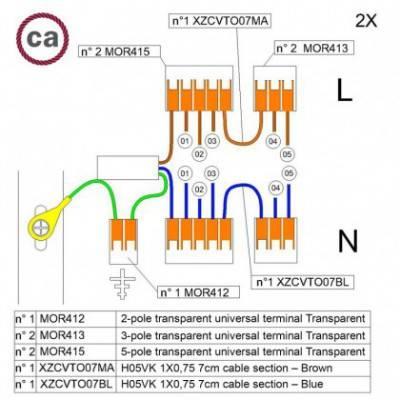 Kit de conexión WAGO compatible con cable 2x para Rosetón de 5 agujeros