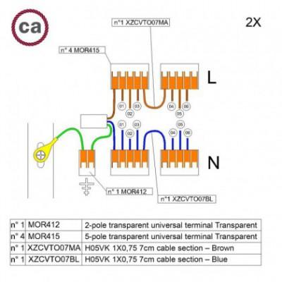 Kit de conexión WAGO compatible con cable 2x para Rosetón de 6 agujeros