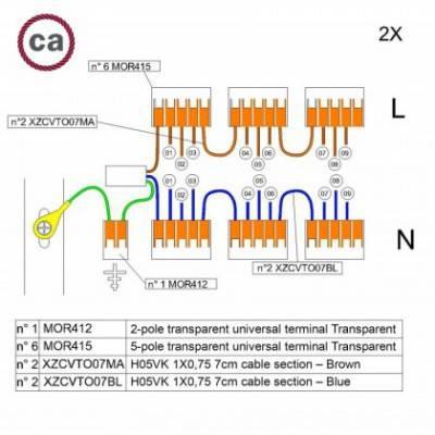 Kit de conexión WAGO compatible con cable 2x para Rosetón de 9 agujeros