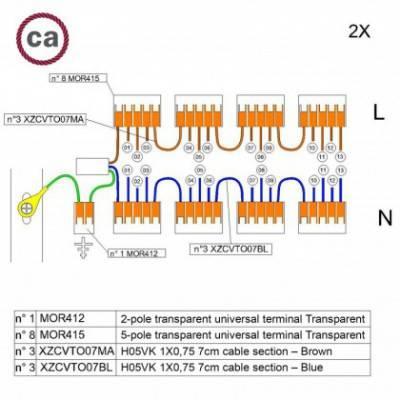 Kit de conexión WAGO compatible con cable 2x para Rosetón de 13 agujeros