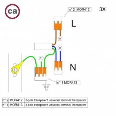 Kit de conexión WAGO compatible con cable 3x para Rosetón de 1 agujero