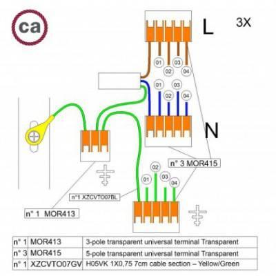 Kit de conexión WAGO compatible con cable 3x para Rosetón de 4 agujeros