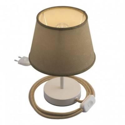 Alzaluce con pantalla Imperio, lámpara de mesa de metal clavija de 2 polos, cable e interruptor