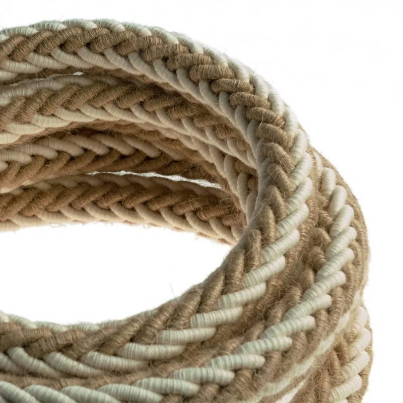 Cordón 2XL trenzado en Yute y Algodón blanco crudo, cable eléctrico 2x0,75. Diámetro de 24 mm