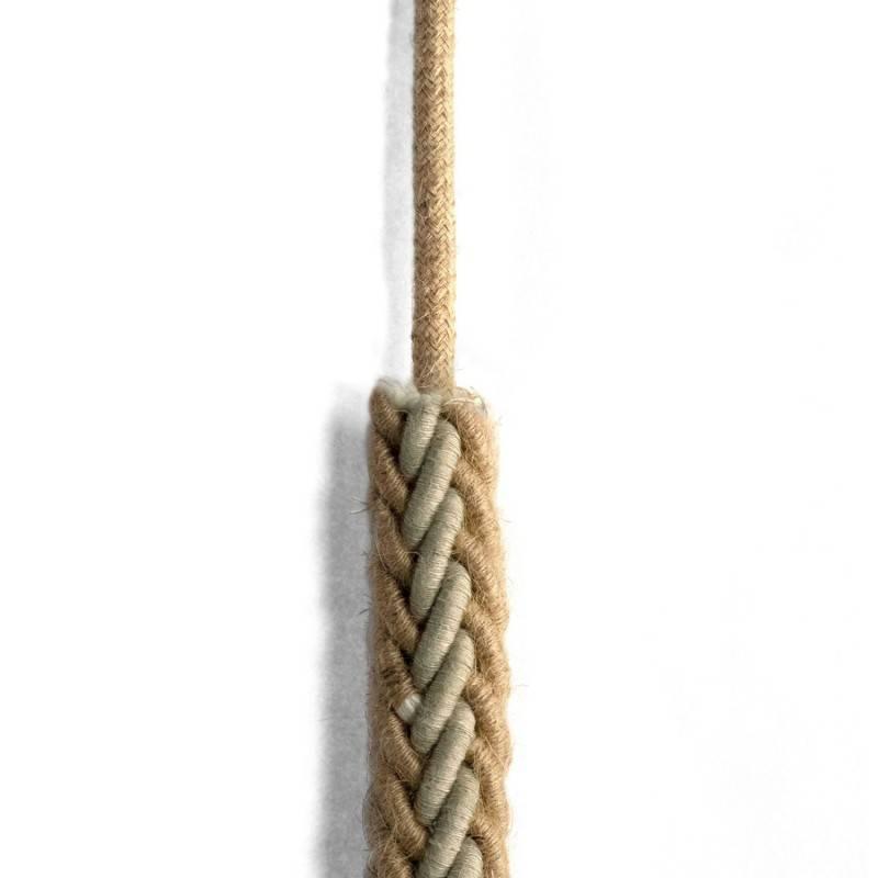 Cordón 2XL trenzado en Yute y Lino gris natural, cable eléctrico 2x0,75. Diámetro de 24 mm