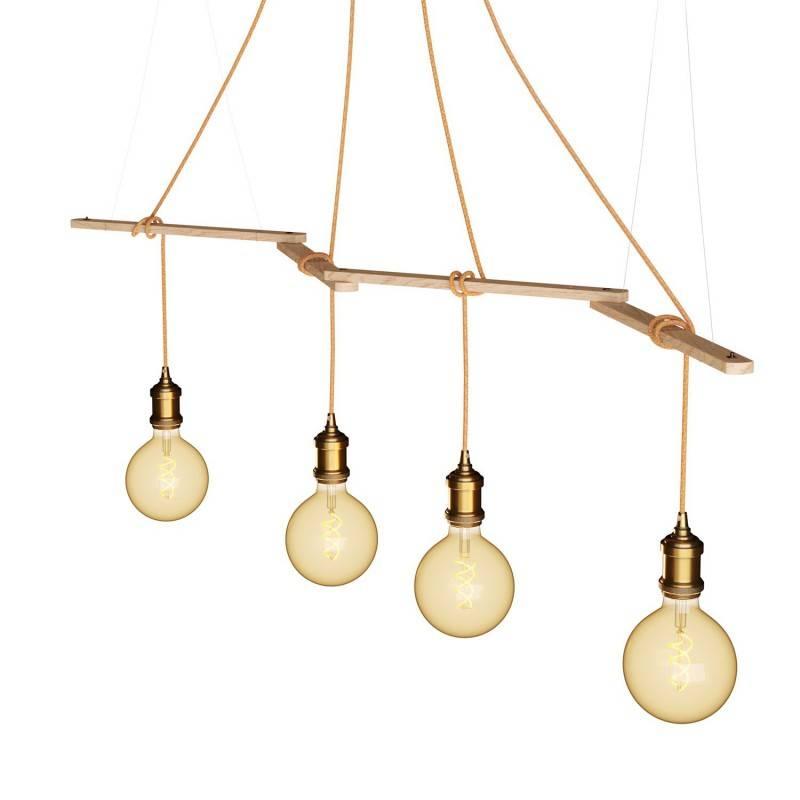 Zigh-Zagh, soporte de techo de madera regulable para lámparas a suspensión