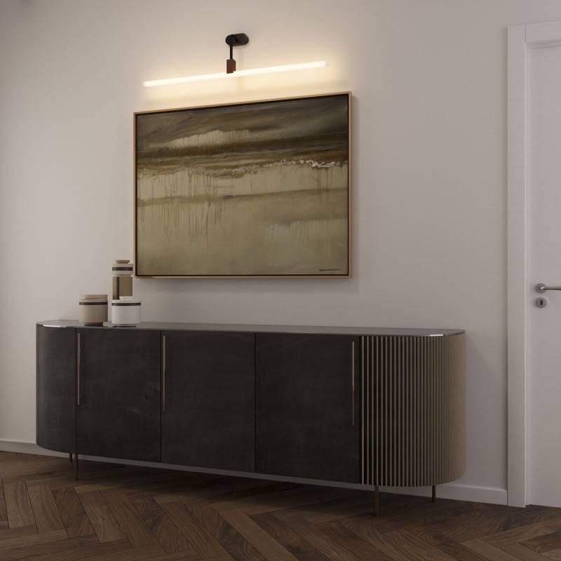 Aplique de pared con portalámparas Syntax S14d, extensión en L y rosetón ovalado de madera