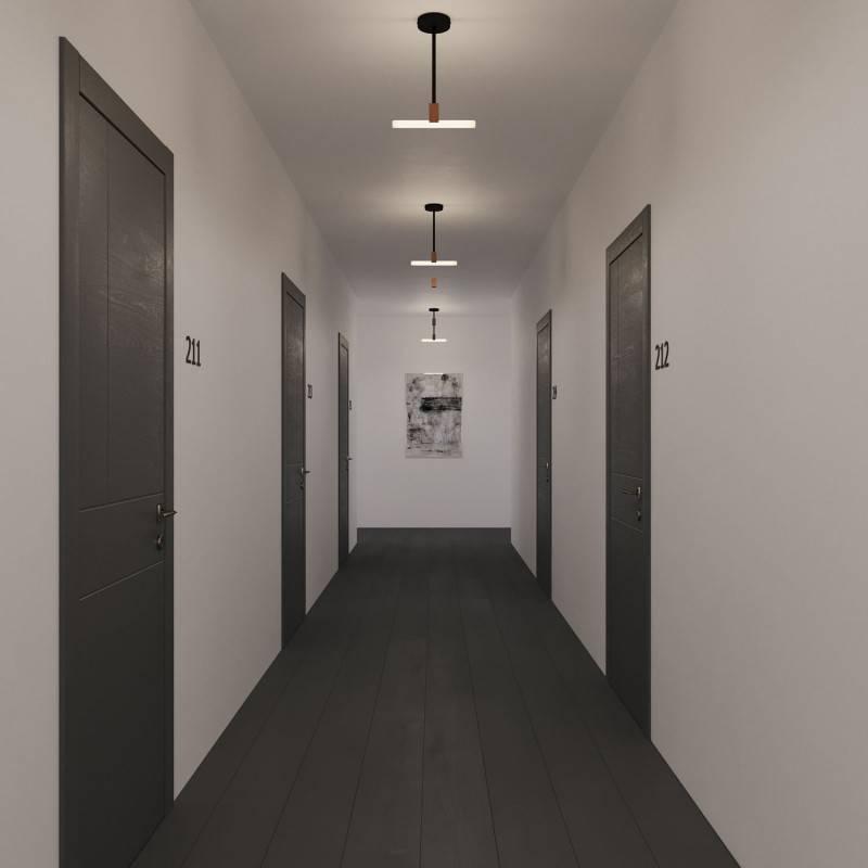 Lámpara de techo minimal con portalámparas Syntax S14d y tubo de extensión en metal 30cm