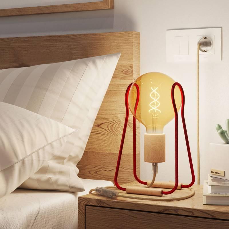 Taché Madera, lámpara de sobremesa completa con cable textil, interruptor y clavija de 2 polos